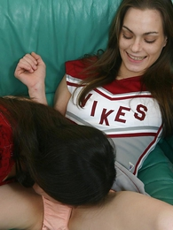 Titillating college cheerleaders having a pussy with the addition of panty trample feign