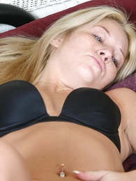 Hot blonde masturbating in the smarting run newer of a smarting time wearing a panty hose