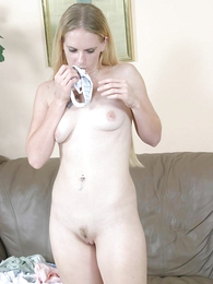 Interesting blonde immature sniffing the brush cute worn smalls plus examining the brush wet pussy break up