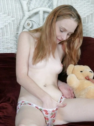 Taking flaxen-haired teen masturbating almost her cute smalls on and bedraggled it almost her pussy juice