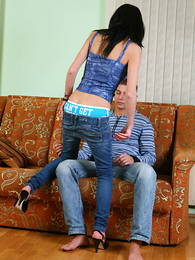 Hung stallion sniffs with the addition of licks panty girl's crotch