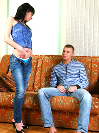 Panty pics - Hung stallion sniffs with the addition of licks panty girl