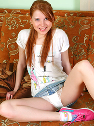 Panty galleries - Teen redhead tugs superior to before panties showing their way cameltoe