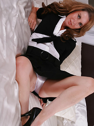 Undies pictures - Sexy MILF Alex cant get enough of those satin panties and having a little time on her hands lets you see what is under her skirt!