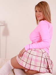 Panty pictures - Office girl Sally junks the paperwork and gets down to business flashing her hot pink panties! Matt