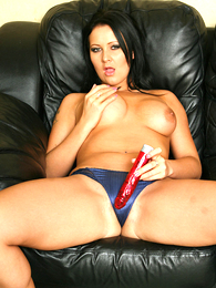 Panty pictures - Sexy Amber bringing off with red dildo scan blue undershorts