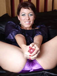 Undies galleries - Renee playing with toy on silk sheets