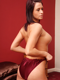 Thongs pics - Carmen handsome off red nightie involving show off colour drawers