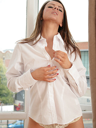 Panty galleries - Taylor in a shirt and tie and white lace panties