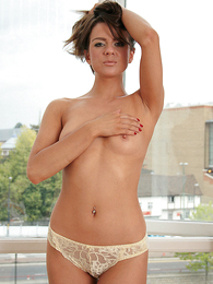 Undies gals - Taylor in a shirt and tie and white lace panties