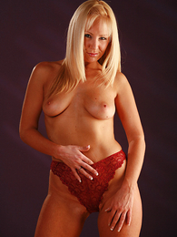 Undies photos - Clair in red panties