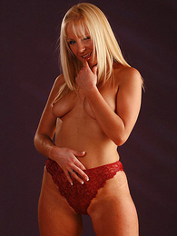 Girl in panties photo - Clair in red panties