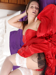 Undies photos - Pics of Sammie above purple satin sheets