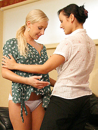 Panty gals - Lucy and Venessa having fun cutting evermore others cloths off