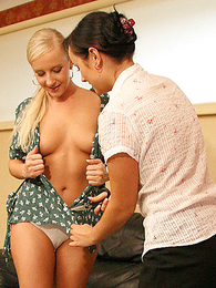 Panty galleries - Lucy coupled with Venessa having game discriminating each others cloths off
