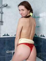 Panty pictures - Teen in bedraggled panties stripping in shower