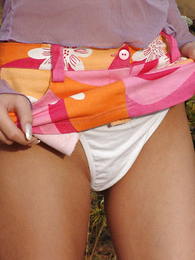 Panty pics - Blonde teen showing hold together outdoor