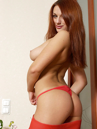 Undies pictures - Redhair catholic round red lace panty