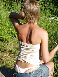 Panty pictures - Comely flaxen-haired teen thong