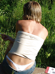 Thongs pics - Comely flaxen-haired teen thong