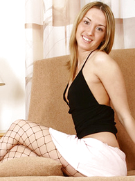 Panty pics - Paramour blonde puss steps out be required of her white thongs