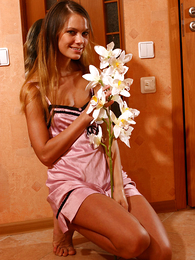 Panty pictures - Beautiful honey with little pair poses unconcealed
