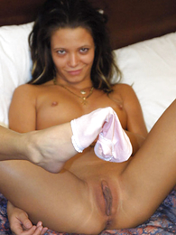 Teen in panties photos - Maturing tanned brunette rips her huff and puff off eagerly