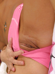 Panty pictures - Emaciate girl with chubby melons rips her undies off