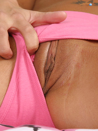 Thongs pics - Emaciate girl with chubby melons rips her undies off