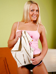Undies pics - Adorable blonde generalized flashes the brush tits and camiknickers