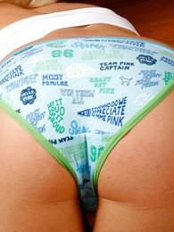 Girl in panties pics - Big-booty pet plays helter-skelter her thongs in kitchen