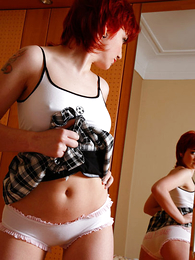 Panty gals - Tattooed busty redhead takes her cute wheeze crave off