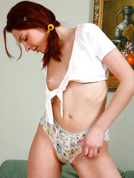Undies pics - Cute pigtailed schoolgirl playing with will not hear of panties