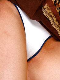Panty pics - Fetching dark-haired freshie shows her flavourful cameltoe