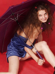 Panty gals - Skinny teen with umbrella rips her undies retire from
