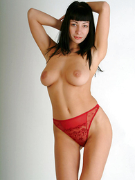 Undies pictures - Tenebrous in red pants showing hot strip-tease