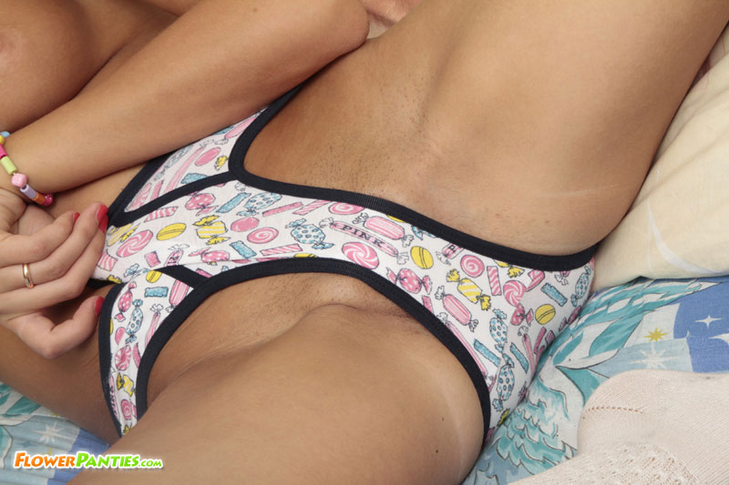 Young pro rubs cotton briefs against her slit