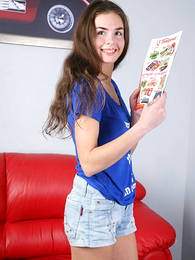 Panty gals - Immature girlie posing in pants in front be useful to burnish apply cam