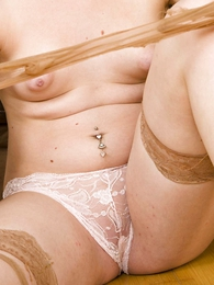 Teen in panties photos - Molly white lace panties and ripped stockings