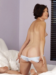 Undies photos - Molly sheer despondent lace panties on the bed
