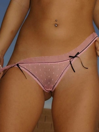 Panty pics - Lucy short pink lace panties topless out of doors