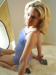 Teen in panties pics - Loni curt purple lace schoolboy shorts