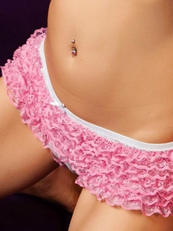 Girl in panties photo - Lacey sheer ruffle knickers