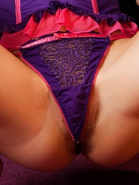Undies pictures - Lacey purple lace shoestring panties
