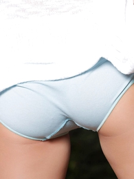 Girl in panties photo - Kayden blue cotton panties topless outside