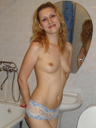Panty pictures - Curly cutie shows her panties images