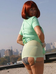 Panty pics - Rooftop girdle show