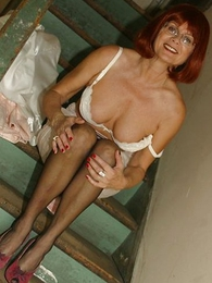 Panty gals - Mature slut with respect to stockings on stairs