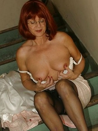 Panty pics - Mature slut with respect to stockings on stairs