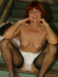 Thongs pics - Mature slut with respect to stockings on stairs